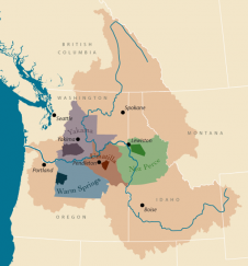 Ceded lands and reservations of the four CRITFC member tribes