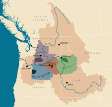Map of Columbia Basin with tribal ceded lands