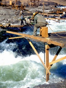 Fishing from a platform at Celilo Falls