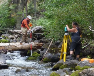 Conducting a stream survey.