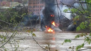 An oil train derailment into the James River in Lynchburg, Virginia. Photo by Waterkeeper Alliance.